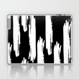 Black And White Retro Bold Paint Lines Pattern Laptop & iPad Skin