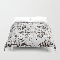 snow leopard Duvet Covers featuring Snow Leopard by lillianhibiscus