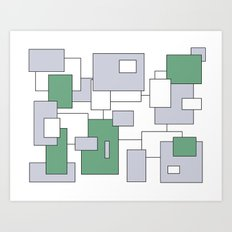 Squares - gray, green and white. Art Print
