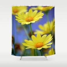 Yellow Daisies Blues Shower Curtain