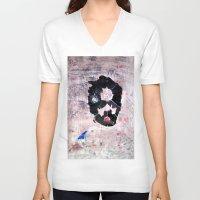 banksy V-neck T-shirts featuring C'EST CI N'EST PAS BANKSY  by Lazara Rosell Albear