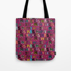 pink merry christmas and happy new year Tote Bag