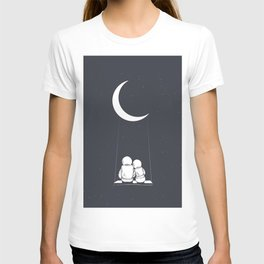 Astronaut Girl and Boy sits on Swing T-shirt