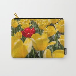 Many yellow tulips and one red Carry-All Pouch
