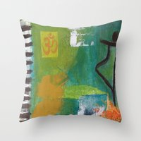 yoga Throw Pillows featuring YOGA by Prema Designs