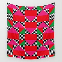 Houses with a Red Body and a Pink Roof, in a dotted synthetic grass. Wall Tapestry