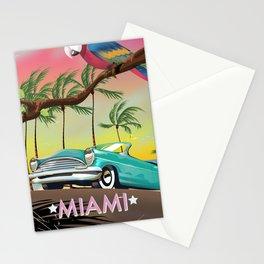 Miami, Florida, USA retro travel poster Stationery Cards