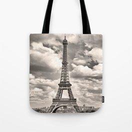 Eiffel Tower in sepia in Paris, France. Landmark in Europe Tote Bag