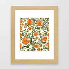 Orange Spring Summer Flowers Boho Framed Art Print