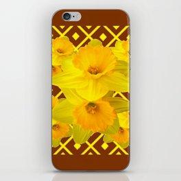 Coffee Brown Pattern of Golden Daffodils Art iPhone Skin