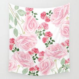 pink rose patterns Wall Tapestry