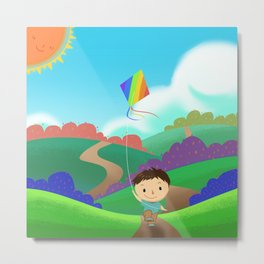 Illustration: A Kid is Running and Flying a Kite in the Colorful Field. Realistic Fantastic Cartoon  Metal Print