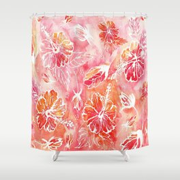 Hibiscus | Tropical Watercolor in Coral, Pink, Orange | #hibiscus #tropicalflower Shower Curtain