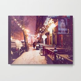 Winter Night with Snow in the East Village New York City Metal Print