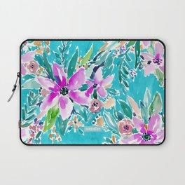 TROPICAL BENEVOLENCE Aqua Floral Laptop Sleeve