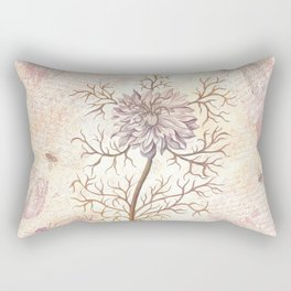 Vintage Flowers and Dragonflies Rectangular Pillow