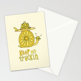 keep on truckin surfy snail // retro surf art by surfy birdy Stationery Cards