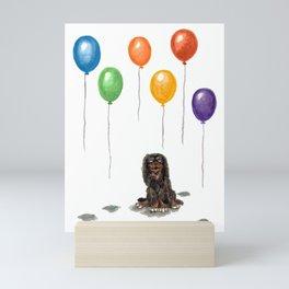 Toy Spaniel with balloons Mini Art Print