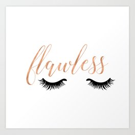Flawless - White and Rose Gold Art Print