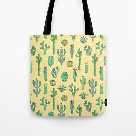 Cactus Pattern Yellow Tote Bag