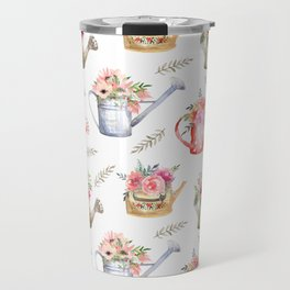 Garden watering cans and flowers. Vintage pattern Travel Mug