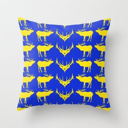 Graphic Swedish Elk on Blue Throw Pillow