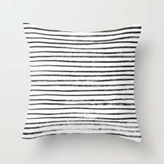 Black Brush Lines on White Throw Pillow
