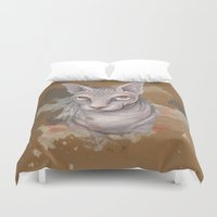 sphynx Duvet Covers featuring Sphynx cat by Illustratic