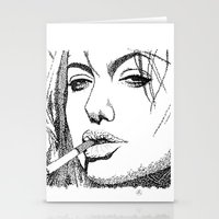angelina jolie Stationery Cards featuring Angelina Jolie by The Curly Whirl Girly.