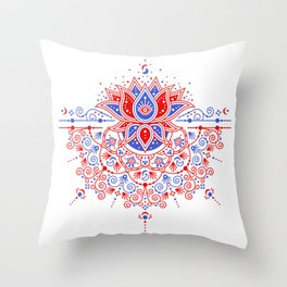 Sacred Lotus Mandala – Red & Blue Palette Throw Pillow