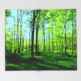 Sky Blue Morning Forest Throw Blanket