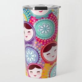Russian dolls matryoshka, pink blue green colors colorful bright pattern Travel Mug