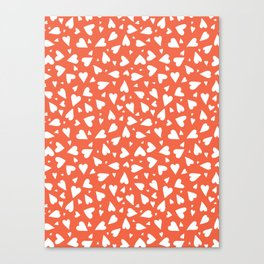 Heart Shapes Silhouettes, Scattered White on Red Hearts Canvas Print