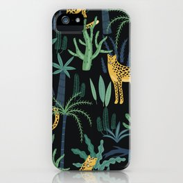 Lush Colourful Floral Green Jungle Pattern Cactus With Leopards iPhone Case