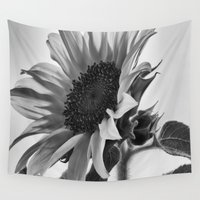gemma correll Wall Tapestries featuring Sunflower Black & White by 2sweet4words Designs