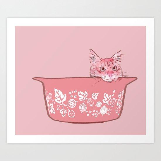 Cat in Bowl #1 Art Print