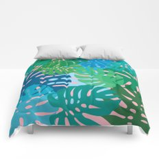 Colorful monstera leaves 3 Comforters
