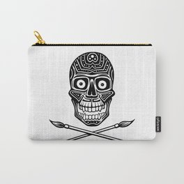 Skull With Paint Brushes Carry-All Pouch