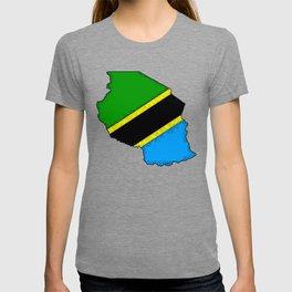 Tanzania Map with Tanzanian Flag T-shirt