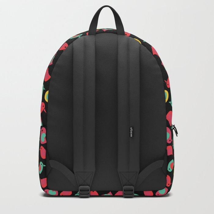 Happy Birds on Black Backpack