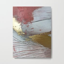 Darling [2]: a minimal, abstract mixed-media piece in pink, white, and gold by Alyssa Hamilton Art Metal Print