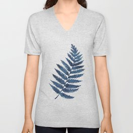 Blue watercolor fern Unisex V-Neck