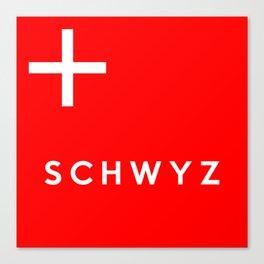 Schwyz region switzerland country flag name text swiss Canvas Print