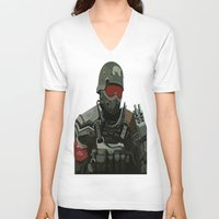 military V-neck T-shirts featuring Military Male Character by Jude Beavis