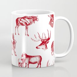 Woodland Critters in Red and White Coffee Mug
