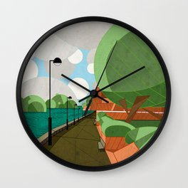 The Thames Behind Craven Cottage Wall Clock