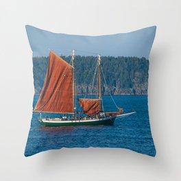 Sailing Ship off Coast of Maine Throw Pillow