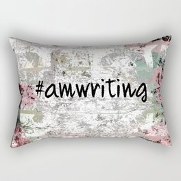 #Amwriting Floral Grunge Quote Rectangular Pillow