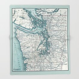 Puget Sound Map Throw Blanket