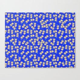 Yellow Lilies on Cornflower Blue Background Canvas Print